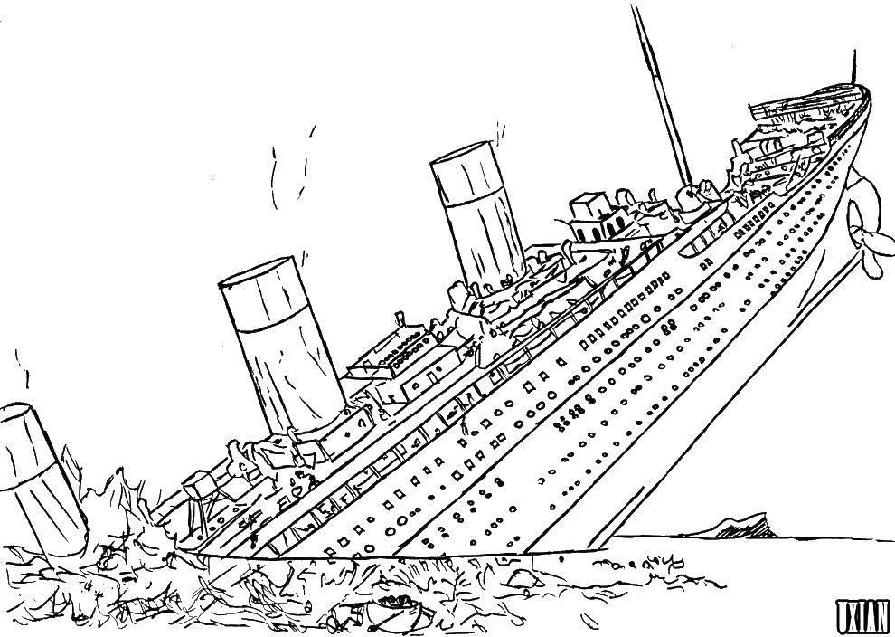 Раскраска Тонущий титаник Скачать корабли, океан, титаник.  Распечатать ,Титаник,