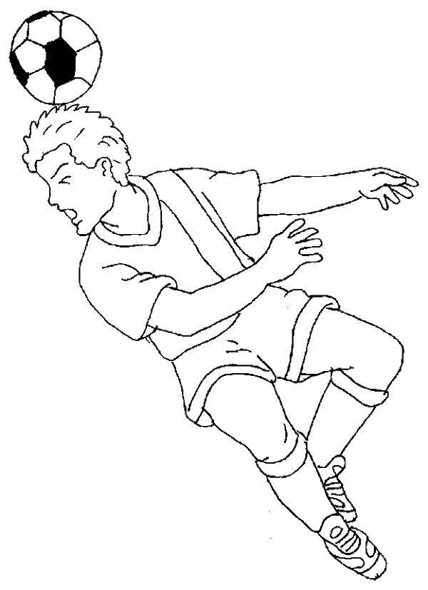 Раскраска Удар по голове Скачать Спорт, футбол, мяч, игра.  Распечатать ,Футбол,