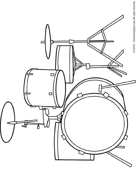 Раскраска Ударная установка Скачать барабаны, ударные, музыкальные инструменты.  Распечатать ,Барабан,