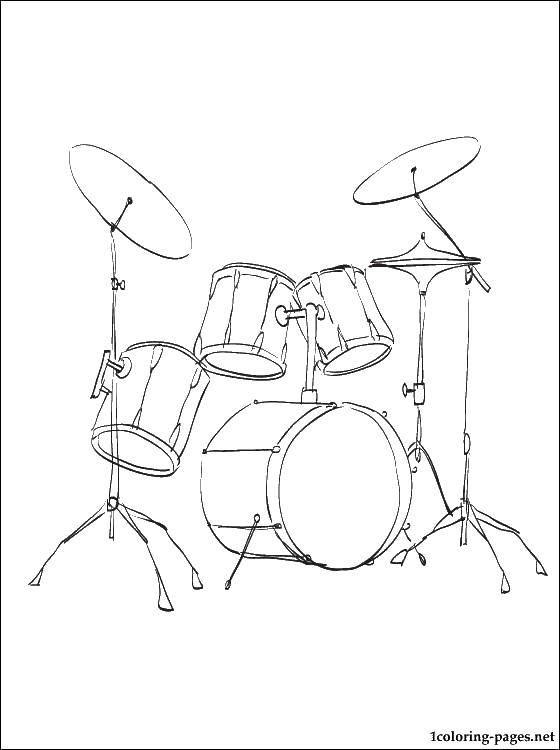 Раскраска Ударные инструменты Скачать барабаны, музыка, ударные.  Распечатать ,Барабан,