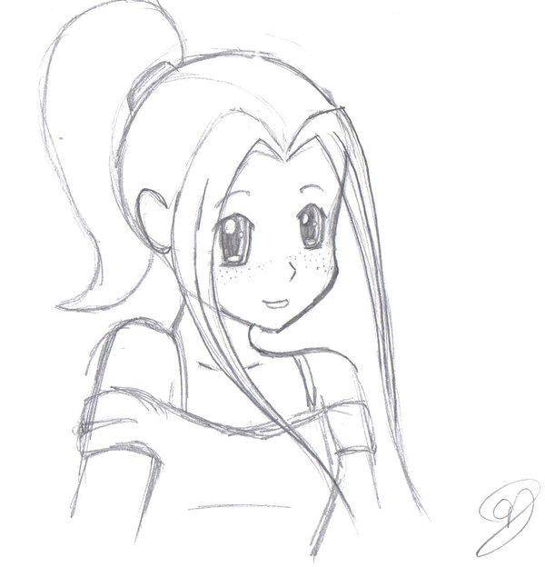 Раскраска аниме Скачать ,аниме, рисунки, девочка,.  Распечатать