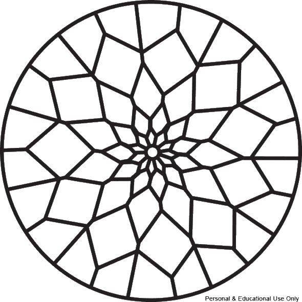 Раскраска С геометрическими фигурами Скачать ,Витраж, узор,.  Распечатать