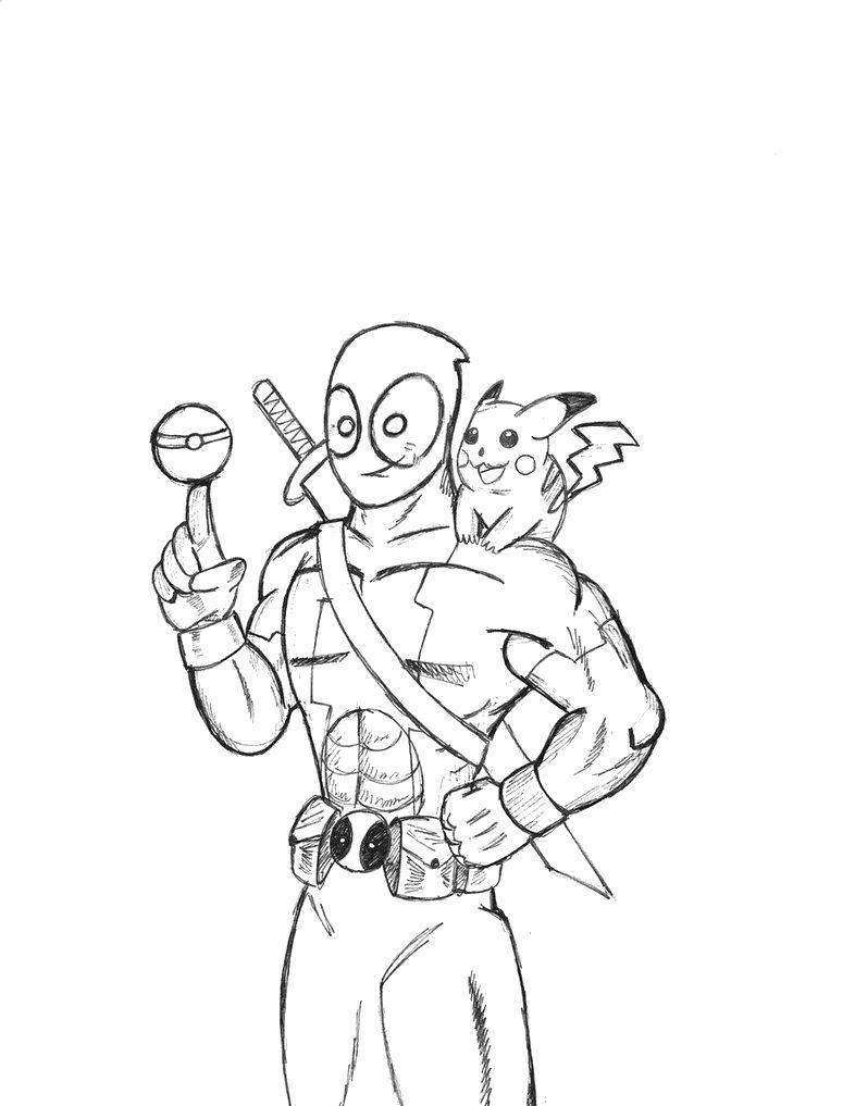 Раскраска Дэдпул и пикачу Скачать Комиксы.  Распечатать ,дэдпул,