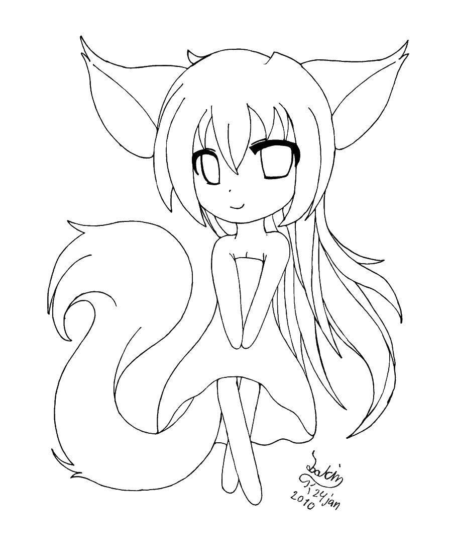Раскраска Девочка лисичка Скачать Животные, лиса.  Распечатать ,Лисица,