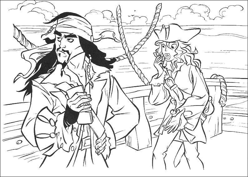 Раскраска Джек воробей Скачать пираты, Джек Воробей, корабль.  Распечатать ,Пираты,