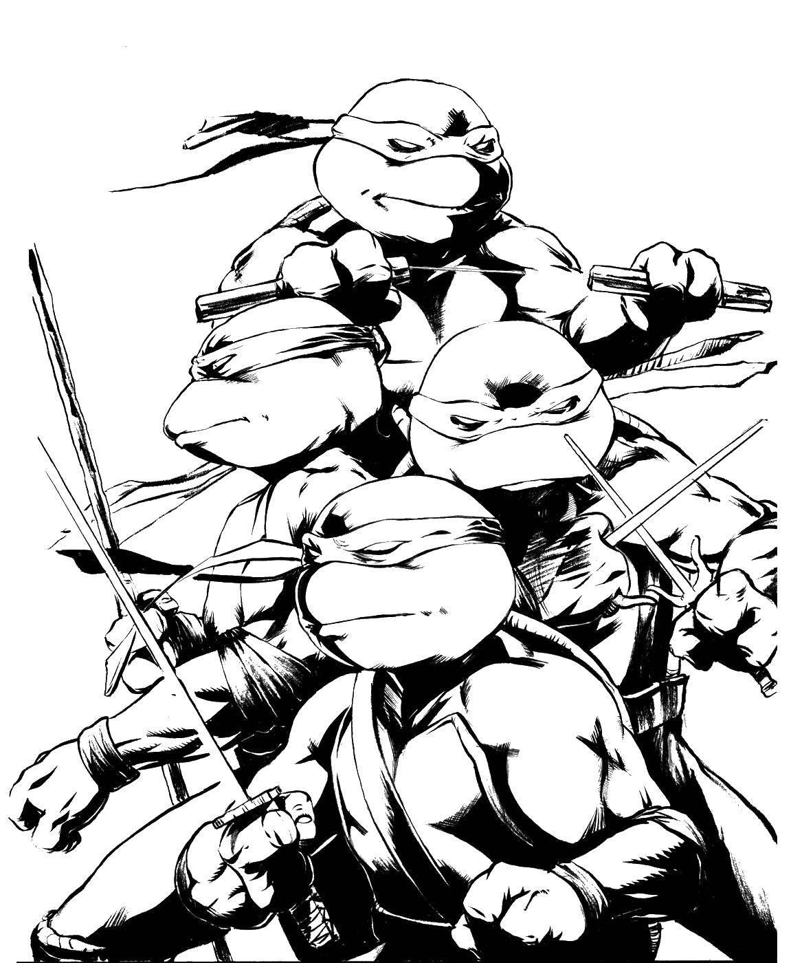Раскраска Команда черепашек ниндзя, комиксы Скачать Комиксы, Черепашки Ниндзя.  Распечатать ,ниндзя,