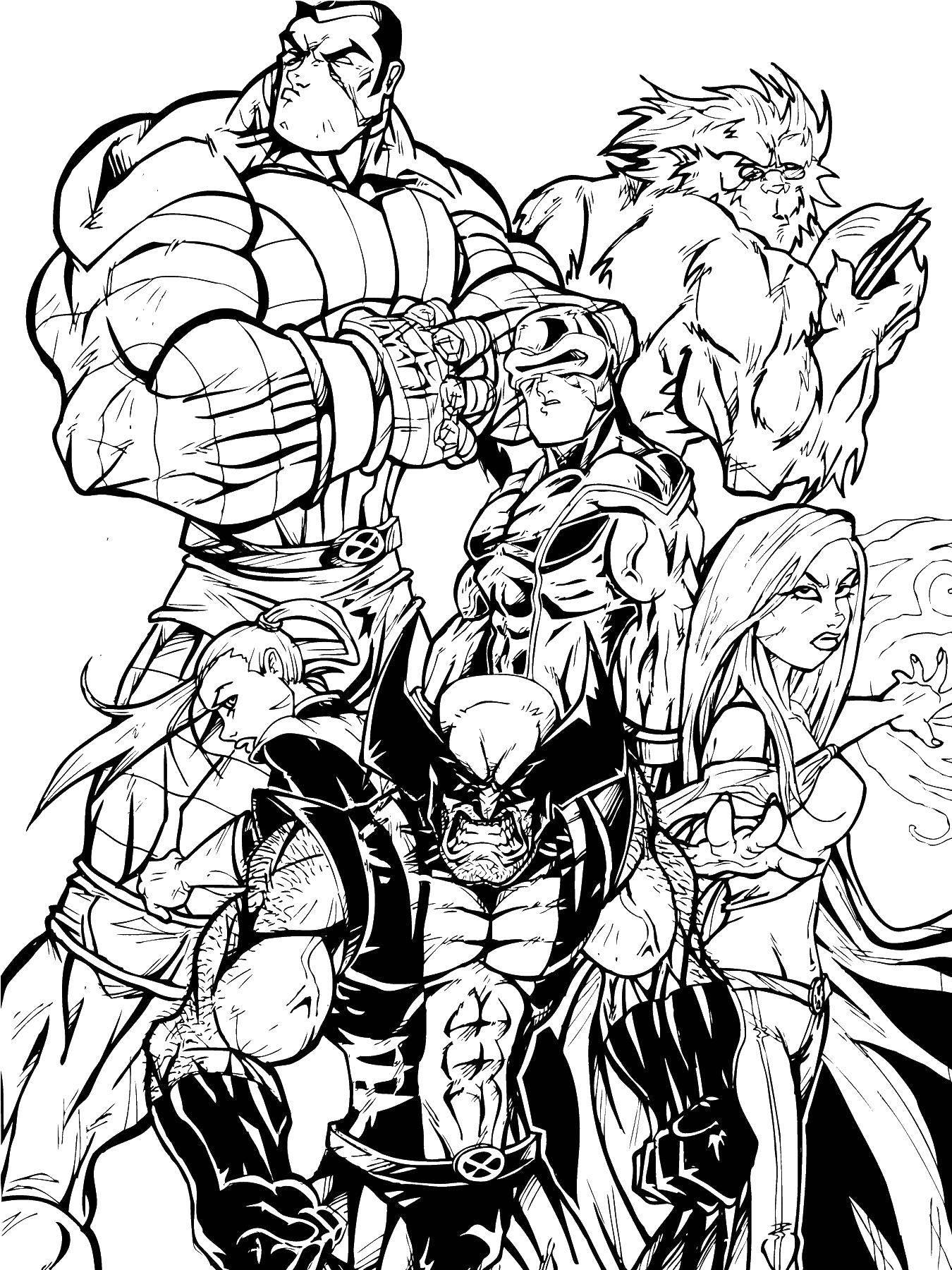 Раскраска Команда мутантов Скачать Комиксы.  Распечатать ,Люди икс,