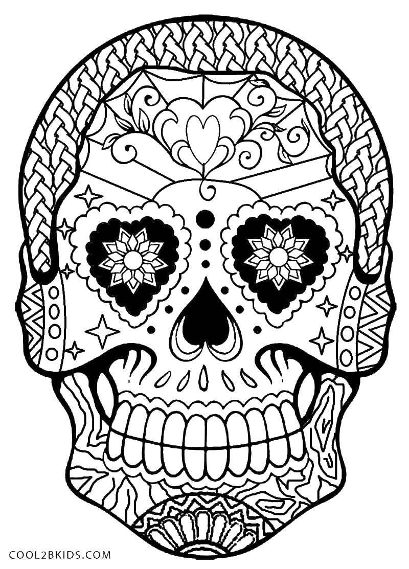 Раскраска Красивые узоры на черепке Скачать Череп, узоры.  Распечатать ,Череп,
