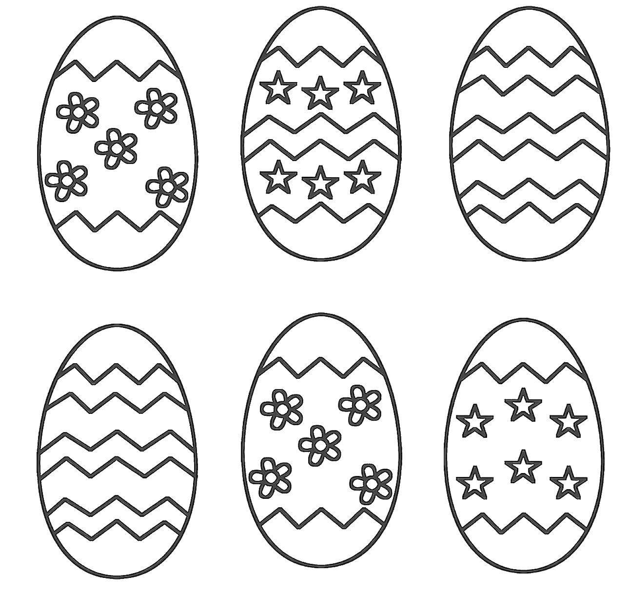 Раскраска Красивые узоры на яичках Скачать Пасха, яйца, узоры.  Распечатать ,Узоры для раскрашивания яиц,