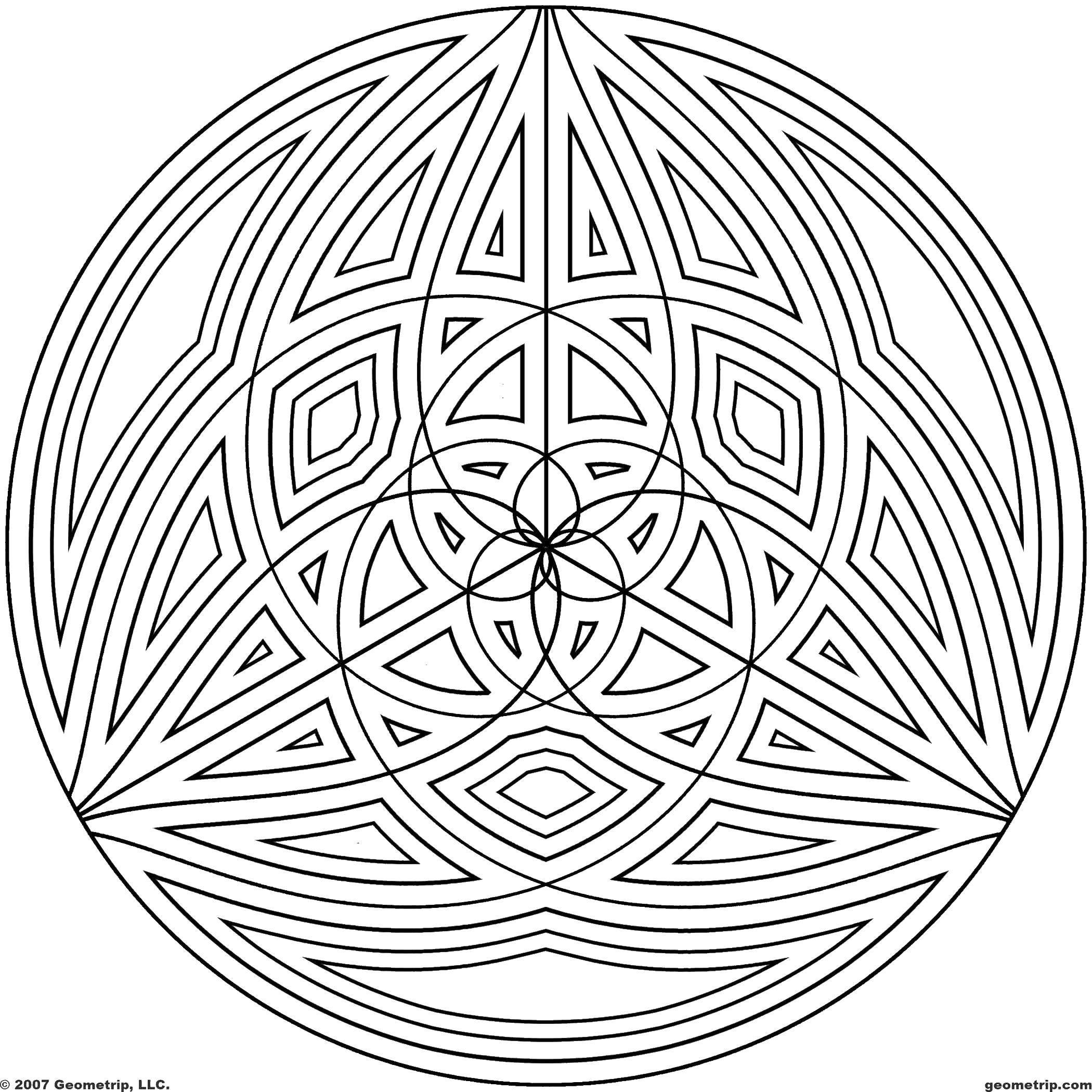 Раскраска Круг, узоры. Скачать Узоры, геометрические.  Распечатать ,С геометрическими фигурами,