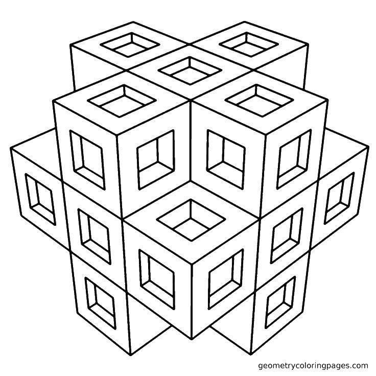 Раскраска Кубический узор. Скачать Узоры, геометрические.  Распечатать ,С геометрическими фигурами,