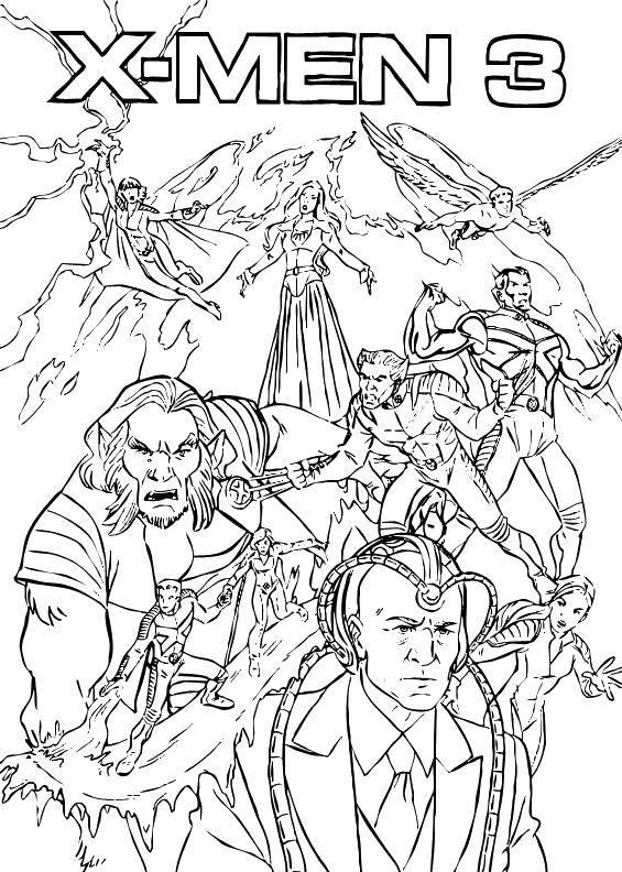Раскраска Люди икс 3 Скачать Комиксы.  Распечатать ,Люди икс,