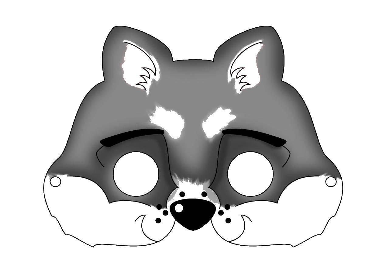 Раскраска Маска волка. Скачать волк.  Распечатать ,маска,