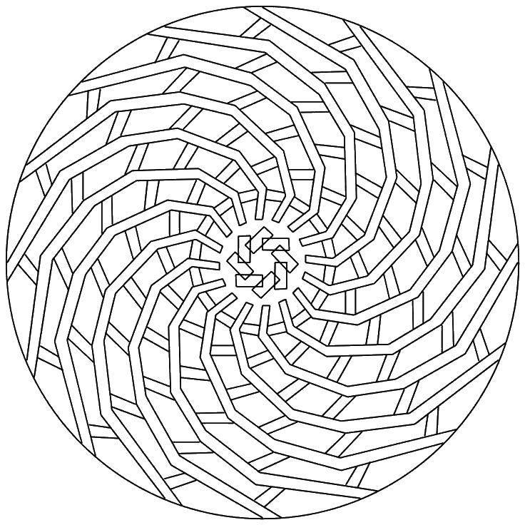 Раскраска Полоски, линии. Скачать Узоры, геометрические.  Распечатать ,С геометрическими фигурами,