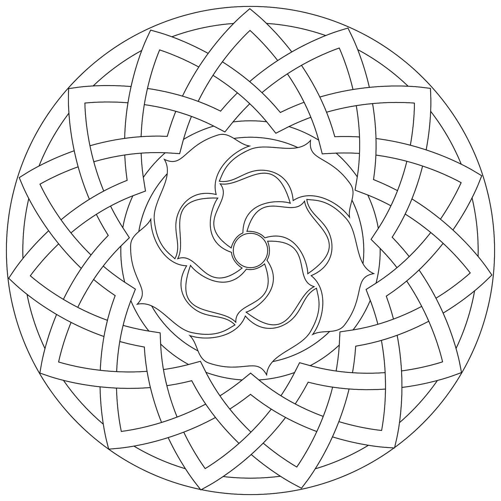 Раскраска Раскрась милый узор. Скачать Узоры, цветок.  Распечатать ,С геометрическими фигурами,