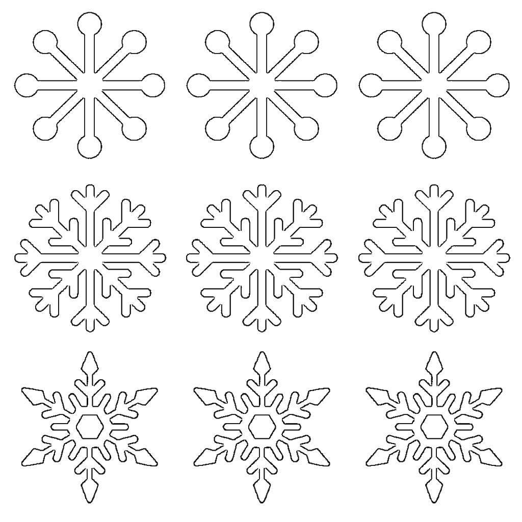Раскраска Разные формы снежинок Скачать Снежинки, снег, зима.  Распечатать ,Трафареты для вырезания,