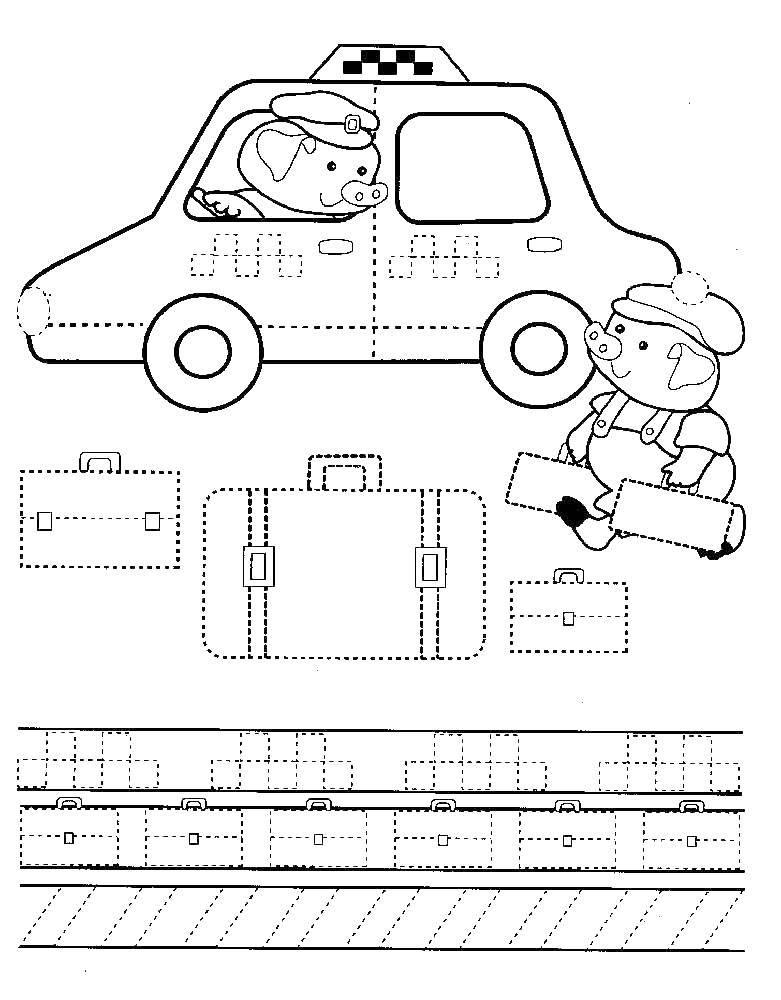 Раскраска Таксист поросенок Скачать прописи, такси.  Распечатать ,прописи,