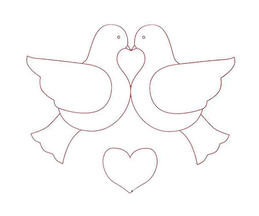 Раскраска Целующиеся голуби Скачать птицы, голуби, любовь.  Распечатать ,голубь мира,