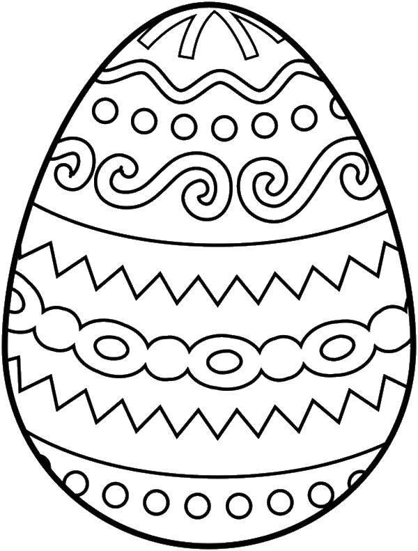 Раскраска Узорчики на яйце. Скачать яйца, Пасха, узорчики.  Распечатать ,пасхальные яйца,