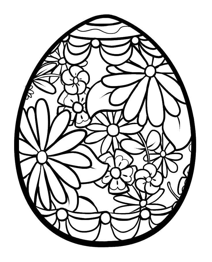 Раскраска Яйцо разрисованное цветочками. Скачать яйца, пасха, цветы.  Распечатать ,Яйца,