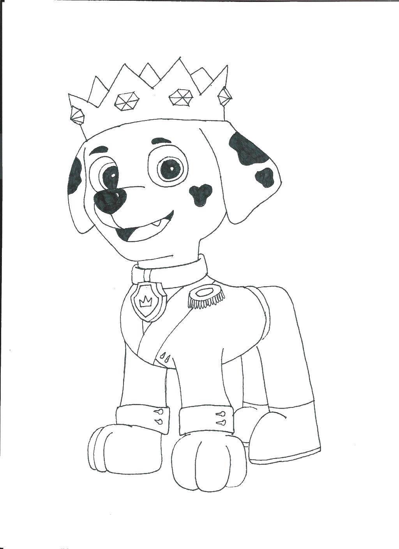 Раскраска Далматинец маршал в короне Скачать Щенячий патруль.  Распечатать ,щенячий патруль,
