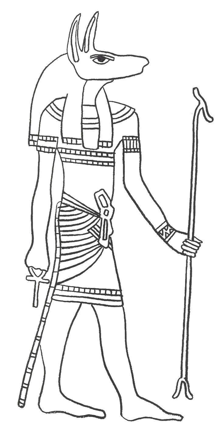 Раскраска Египетский бог Скачать Египет.  Распечатать ,Египет,