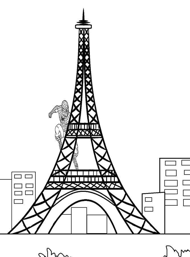 Раскраска Эйфелева башня и спайдермен. Скачать Франция, эйфелева башня, спайдермен.  Распечатать ,раскраски,