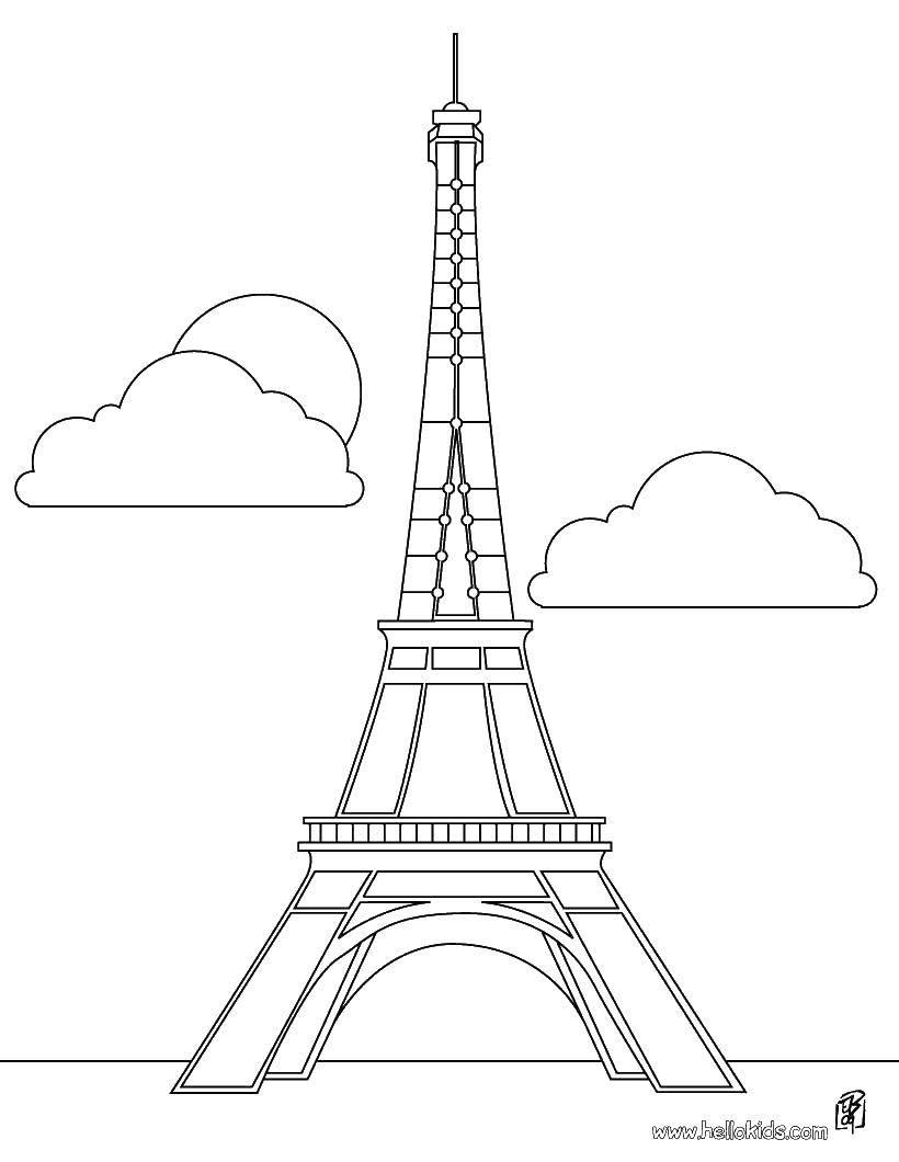 Раскраска Эйфелева башня Скачать ,Франция, эйфелева башня,.  Распечатать