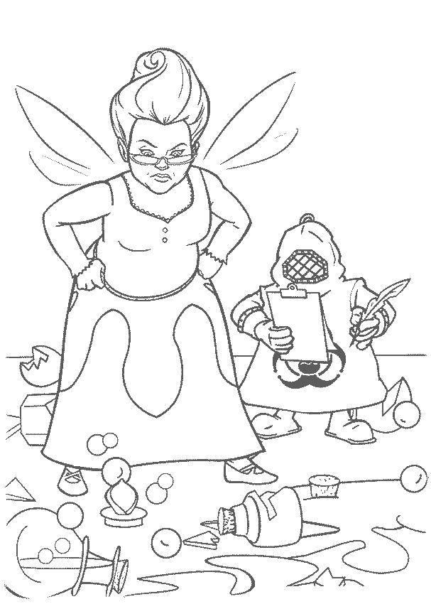 Раскраска Фея увидела пролитые зелья. Скачать Персонаж из мультфильма.  Распечатать ,Шрек,