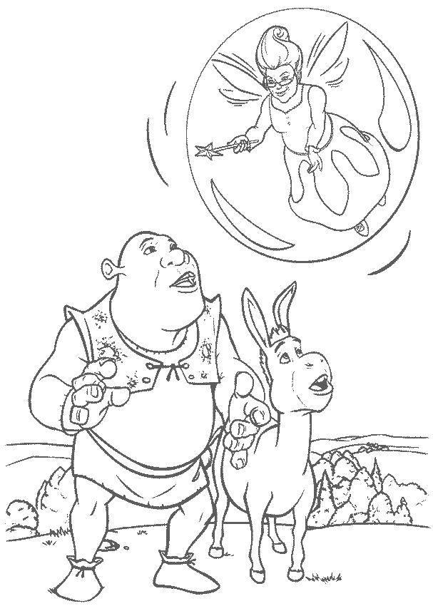 Раскраска Фея в пузыре. Скачать Персонаж из мультфильма.  Распечатать ,Шрек,