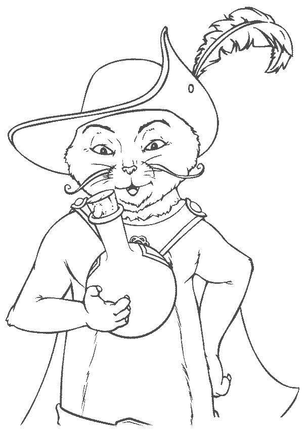 Раскраска Кот в сапогах с зельем. Скачать Персонаж из мультфильма.  Распечатать ,Шрек,