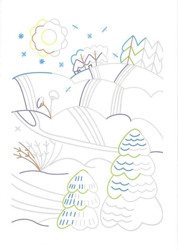 Раскраска Лес зимой Скачать ,штрихование, дорисуй,.  Распечатать