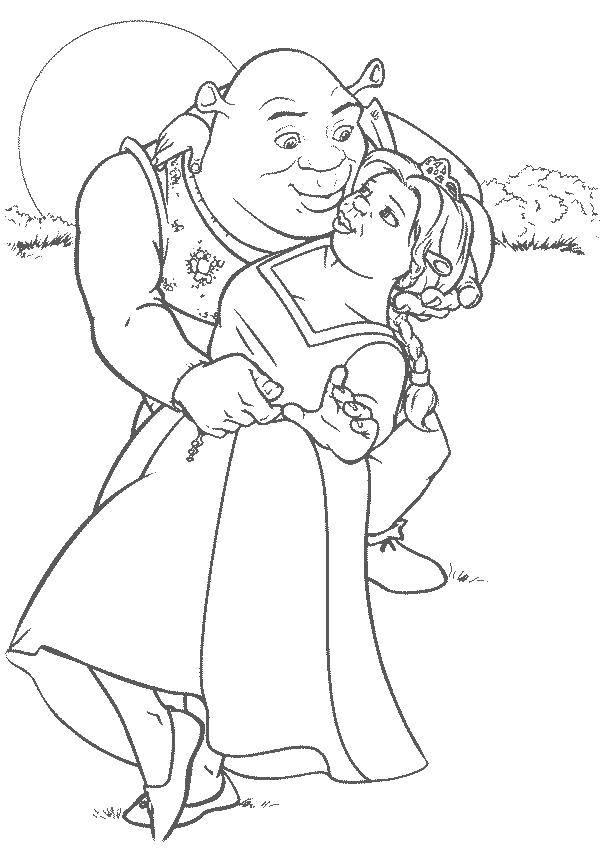 Раскраска Любовь фионы и шрека Скачать Персонаж из мультфильма.  Распечатать ,Шрек,