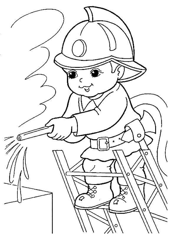 Раскраска Маленький пожарный тушит пожар Скачать ,профессии, пожарный, пожар,.  Распечатать
