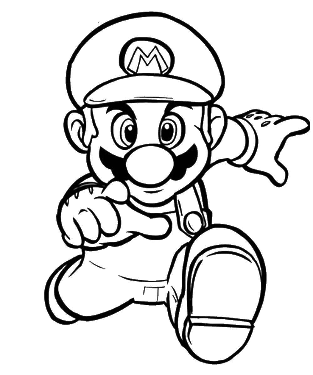 Раскраска Марио бежит вперед Скачать игры, Марио, супер Марио.  Распечатать ,марио,
