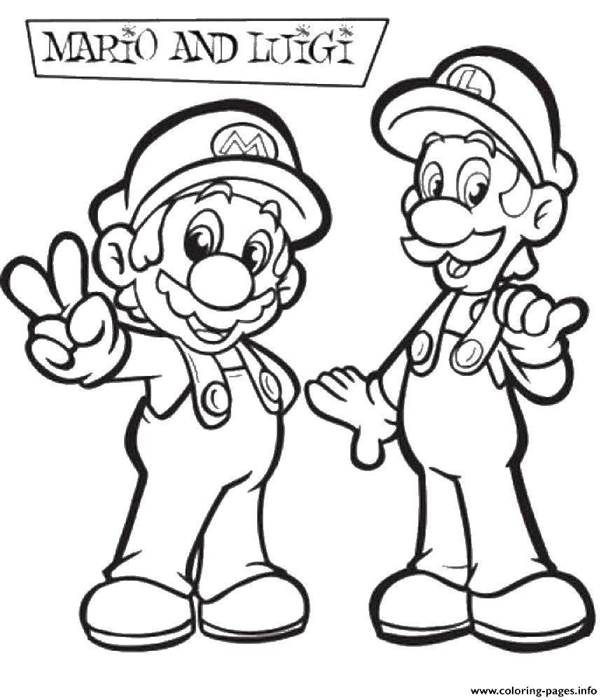 Раскраска Марио с луиджи. Скачать марио, игры, Луиджи.  Распечатать ,марио,