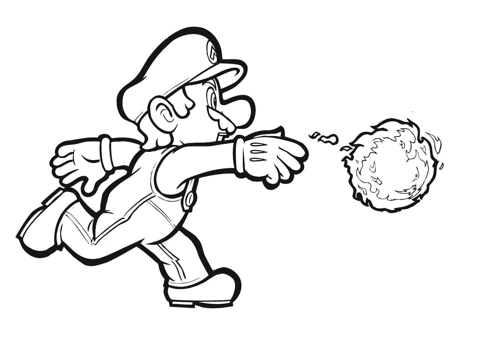 Раскраска Марио сражается. Скачать игры, Марио, Супер Марио.  Распечатать ,марио,