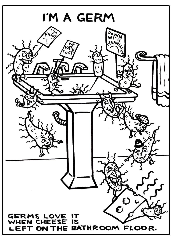 Раскраска Микробы Скачать ,микробы, бактерии,.  Распечатать