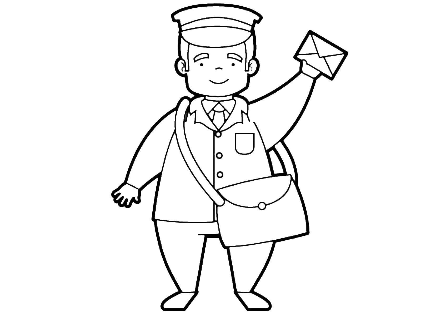 Раскраска Почтальон Скачать ,профессии, почтальон, почта,.  Распечатать