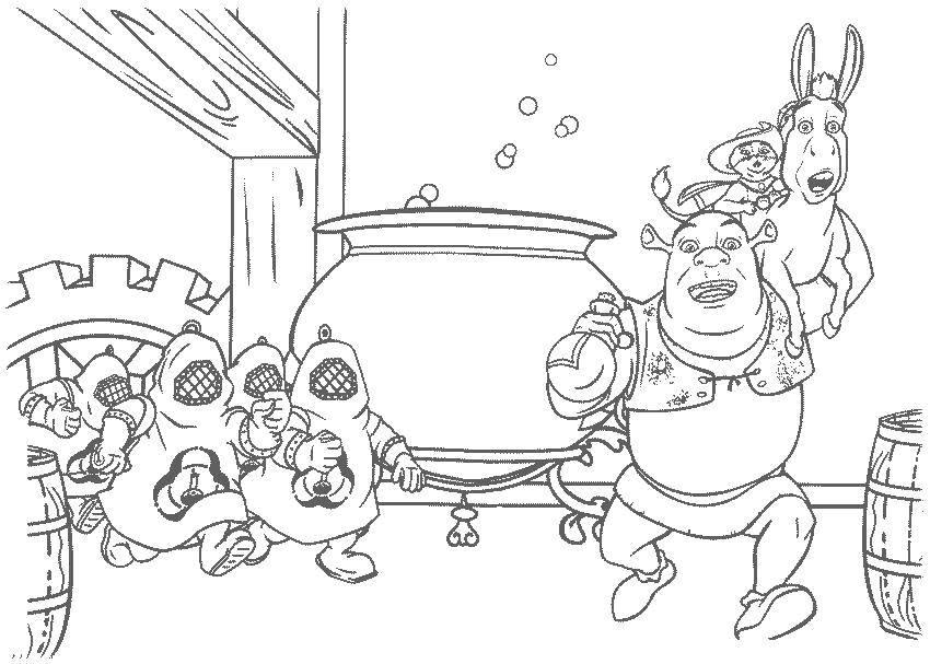 Раскраска Погоня за героями Скачать Персонаж из мультфильма.  Распечатать ,Шрек,