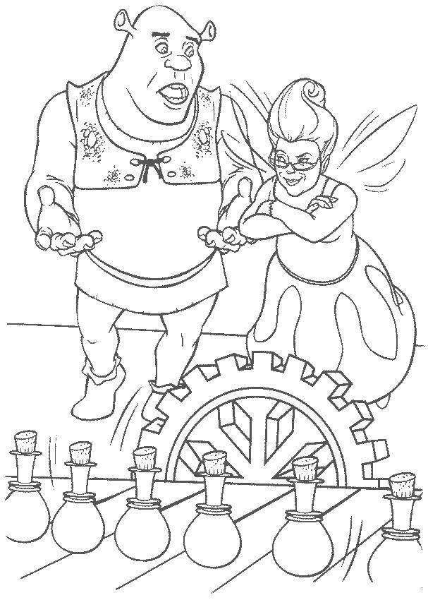 Раскраска Производство зелий Скачать Персонаж из мультфильма.  Распечатать ,Шрек,