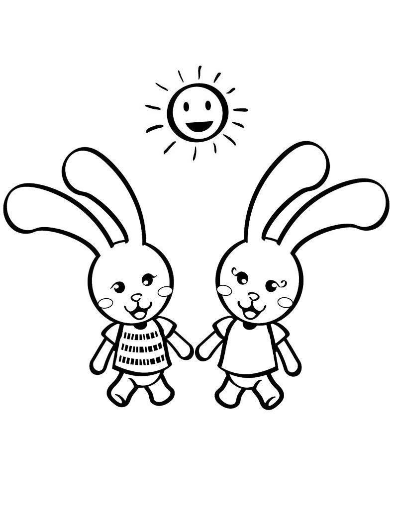 Раскраска Рисунок двух веселых зайчиков Скачать заяц, кролик.  Распечатать ,домашние животные,