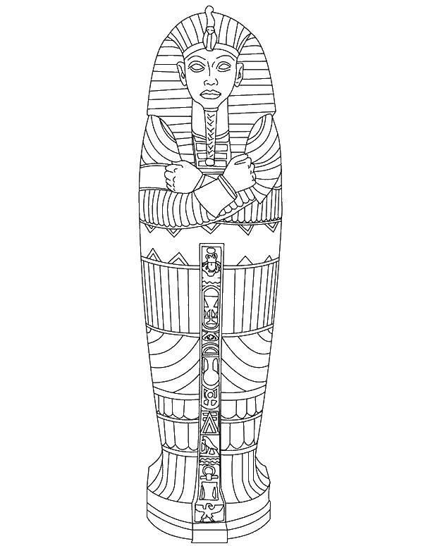Раскраска Саркофаг Скачать Египет.  Распечатать ,Египет,