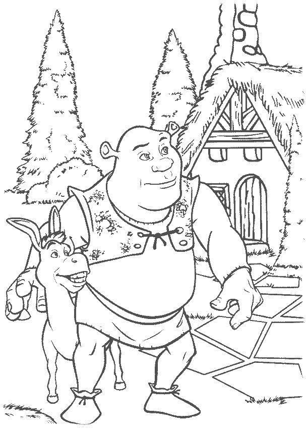 Раскраска Шрек, осёл Скачать Персонаж из мультфильма.  Распечатать ,Шрек,
