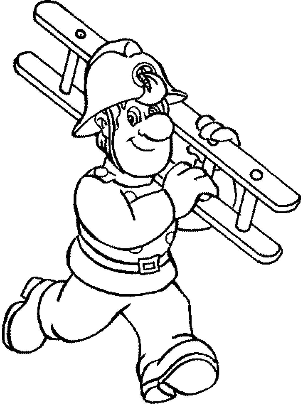 Раскраска Спасатель с лестницей Скачать ,профессии, спасатель,.  Распечатать