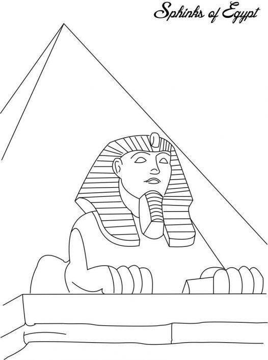 Раскраска Статуя сфинкса в египте Скачать Египет.  Распечатать ,Египет,