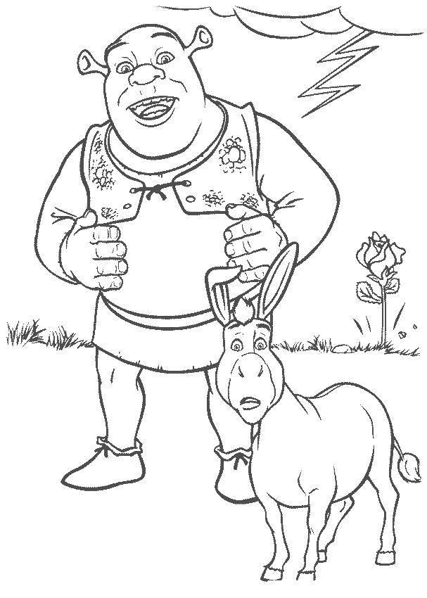 Раскраска Весельчак шрек Скачать Персонаж из мультфильма.  Распечатать ,Шрек,