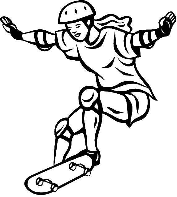Раскраска Девушка на скейте. Скачать Спорт, скейтборд.  Распечатать ,спорт,