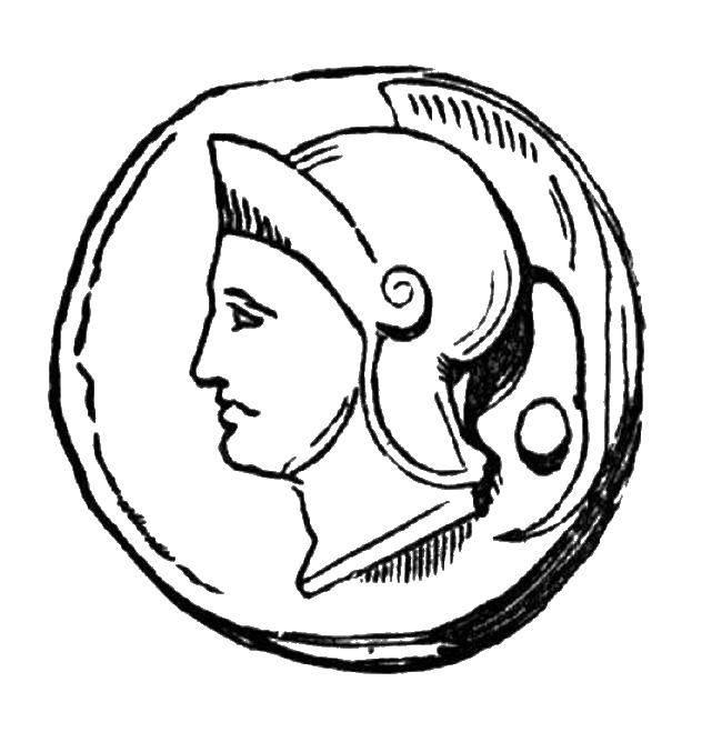 Раскраска Древняя монета Скачать Деньги.  Распечатать ,Деньги,
