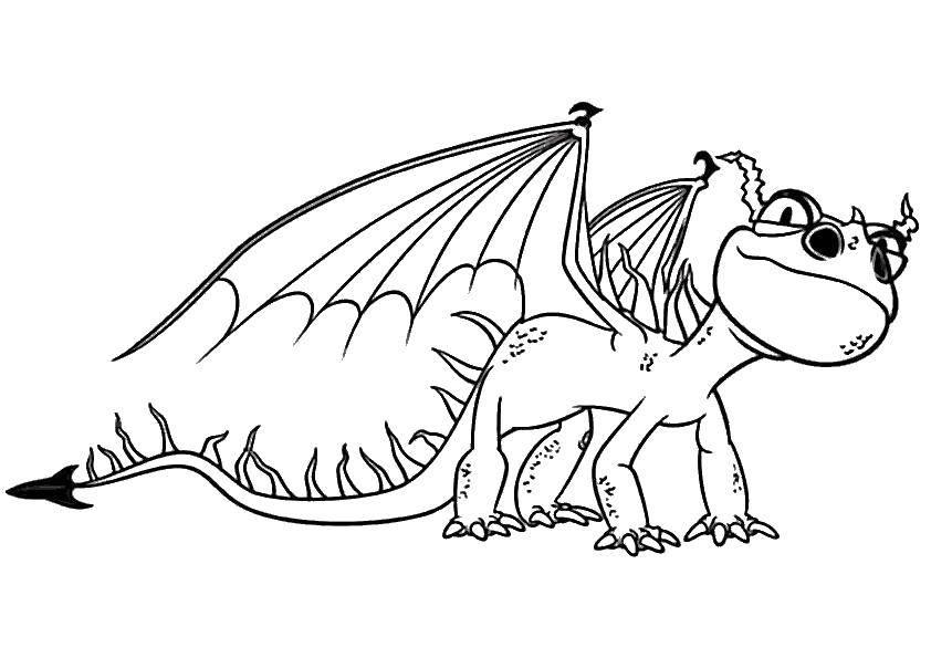 Раскраска Крылатый дракончик Скачать драконы, крылья, дракон.  Распечатать ,Драконы,